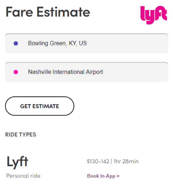 Lyft Bowling Green to Nashville Airport Rate