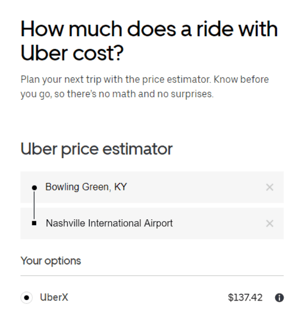 Uber Bowling Green to Nashville Tenessee Rate